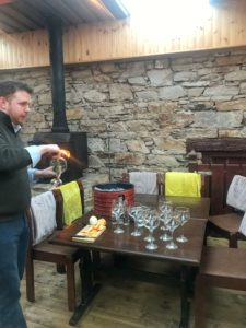 Chris Healy serving Mor Irish Gin-Donegal Food TOurs