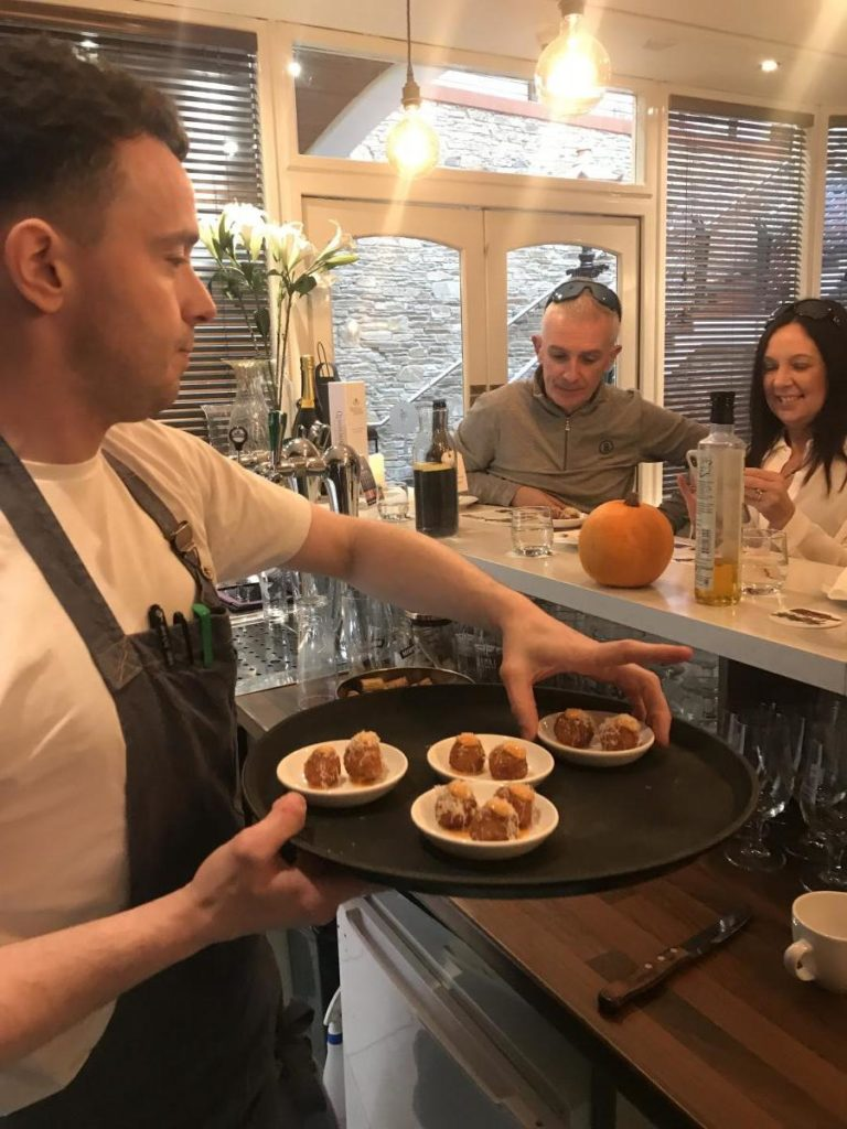 Chef Chris Molloy doing a food demonstration at The Lemon Tree Restaurant-Donegal Food TOurs