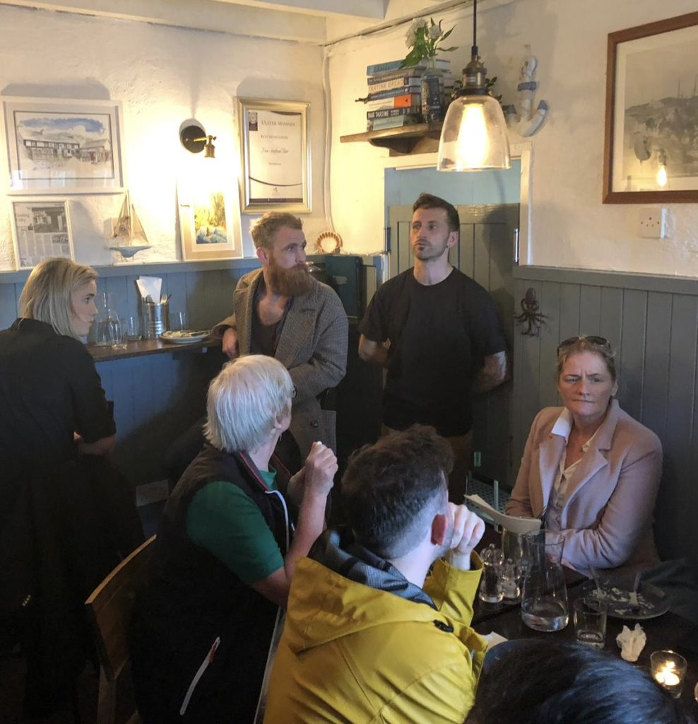 Chef Tony Davidson telling the story of Fisk Seafood Bar-Donegal Food TOurs