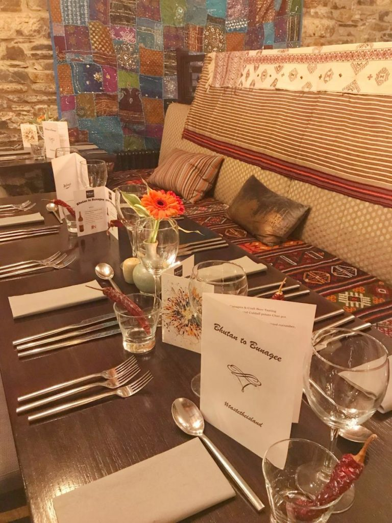Tables set for Bhutan to Bunagee-Donegal Food TOurs